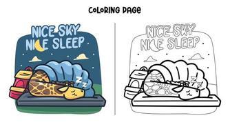 Giraffe Sleep At Night Coloring Page vector