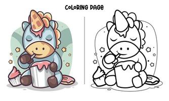 Unicorn Eats Ice Cream Coloring Page vector