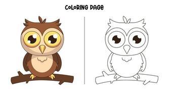 un búho parado en una rama para colorear página vector