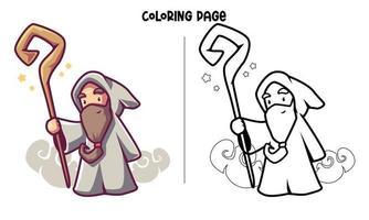 un hechicero y una varita mágica para colorear página vector