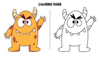 Orange Monster Raising Its Hand Coloring Page vector