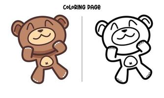 Cute Face Brown Bear Coloring Page vector
