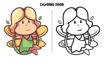 Swinging Little Fairy Girl Coloring Page vector