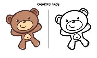 Happy Brown Bear Coloring Page vector