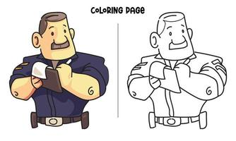 Police Inspector Coloring Page vector