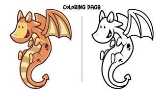 Página para colorear de dragón volador amarillo marrón vector