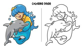 Blue Princess Hugging A Lovely Dolphin Coloring Page vector
