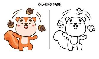 Squirrel Juggling Nuts Coloring Page vector