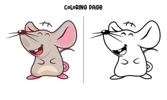 Laughing Mouse Coloring Page vector
