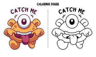 Catch The Monster If You Can Coloring Page vector