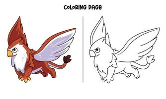 Cute Griffin Coloring Page vector