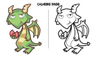 The Green Dragon Is Eating A Donut Coloring Page vector