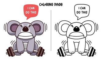Koala está levantando pesas para colorear vector