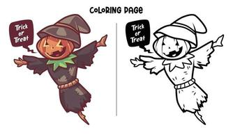 Scarecrow At Halloween Coloring Page vector