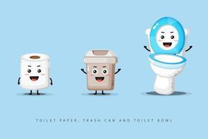 lindo papel higiénico feliz, bote de basura e inodoro vector