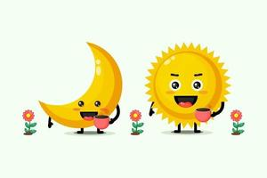 Cute moon and sun holding coffee cups vector