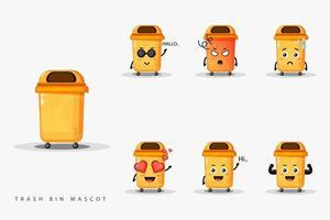 Cute trash bin mascot set vector