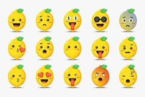 Set of cute lemon with emoticons vector