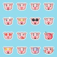 cute pig stickers set vector