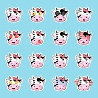 cute cow stickers set vector
