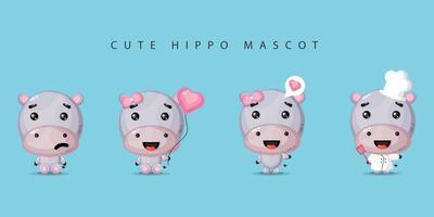 Cute Hippo Mascot Set vector