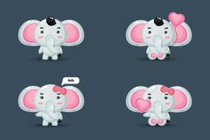Cute Elephant Mascot set vector