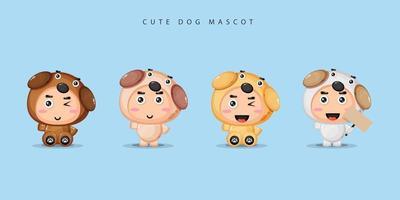 Cute mascot dog set vector
