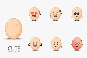 Cute mascot chicken eggs set vector