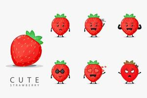 Cute strawberry mascot set vector