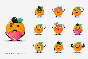 Set of oranges Cute mascot vector