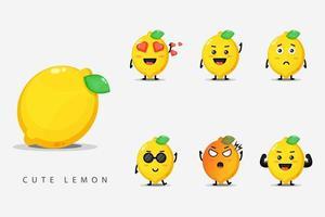 Set of cute lemon mascots vector