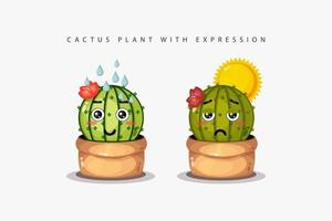 Fresh and withered cactus plants with cute expressions vector
