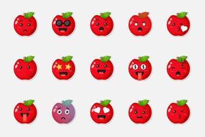 conjunto de lindas manzanas rojas con expresiones vector