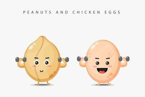 la mascota del maní y el huevo de gallina levantan la barra vector