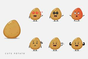 lindo conjunto de mascota vegetal de patata vector