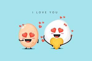Mascot chicken egg designs are in love vector
