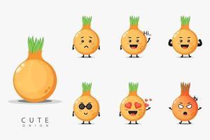 Cute onion design set vector