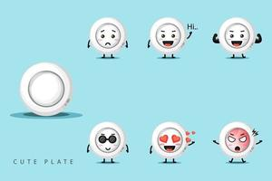 Cute mascot plate design set vector