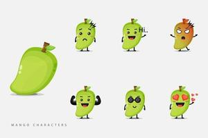 Set of cute mango fruit characters vector