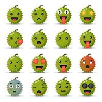 Set of cute durians with emoticons vector