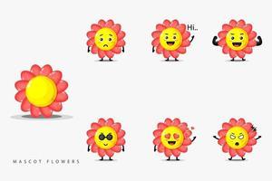 Set of cute mascot flower design vector