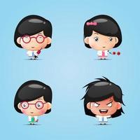 Set of cute girl mascot doctors vector