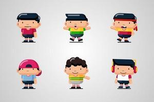 Set of kids character flat vector