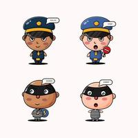 Set of Police and Robber design mascots vector