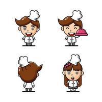 Cute Chef Mascot character set vector