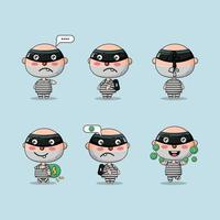 Cute character thief with different action sets vector