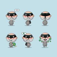 ladrón de personajes lindos con diferentes conjuntos de acción vector