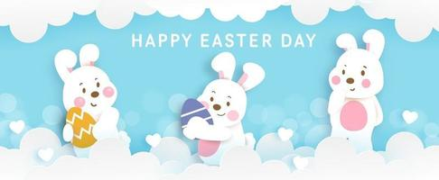 Easter day banner with cute rabbit abd eester egg. vector