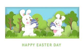 tarjeta del día de pascua con lindos rabinos y huevos de pascua. vector