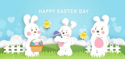 Easter day background and banner with  cute rabbiits and easter eggs. vector